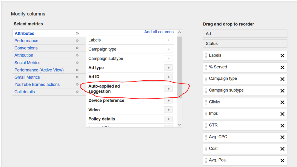 Adwords Ad Suggestions: Auto-applied ad suggestion column
