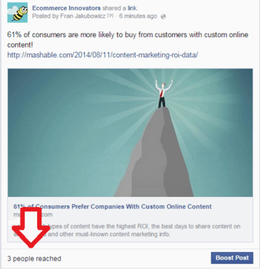 Low facebook organic reach example