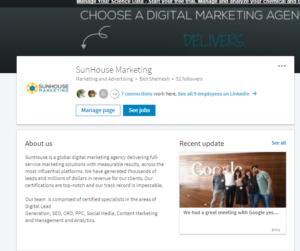 LinkedIn Company Page for SunHouse Marketing