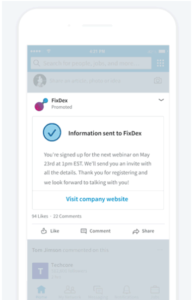 Follow Up page to LinkedIn Lead Gen Form